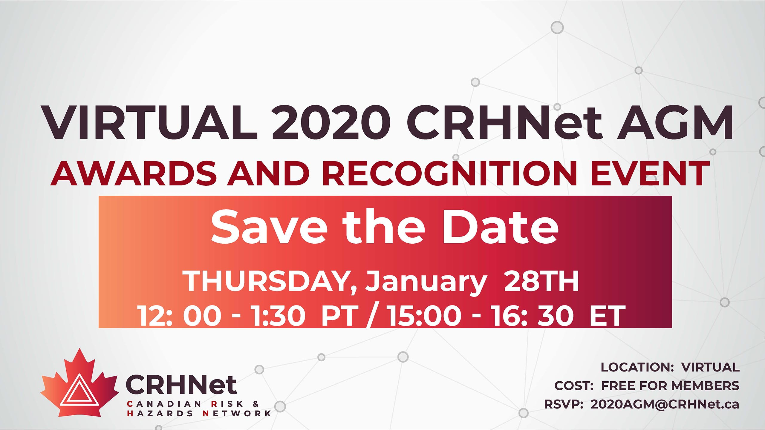 Virtual 2020 CRHNet AGM Awards & Recognition Event